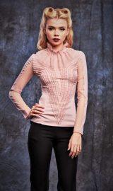 Bluza din matase roz prafuit cu maneca lunga