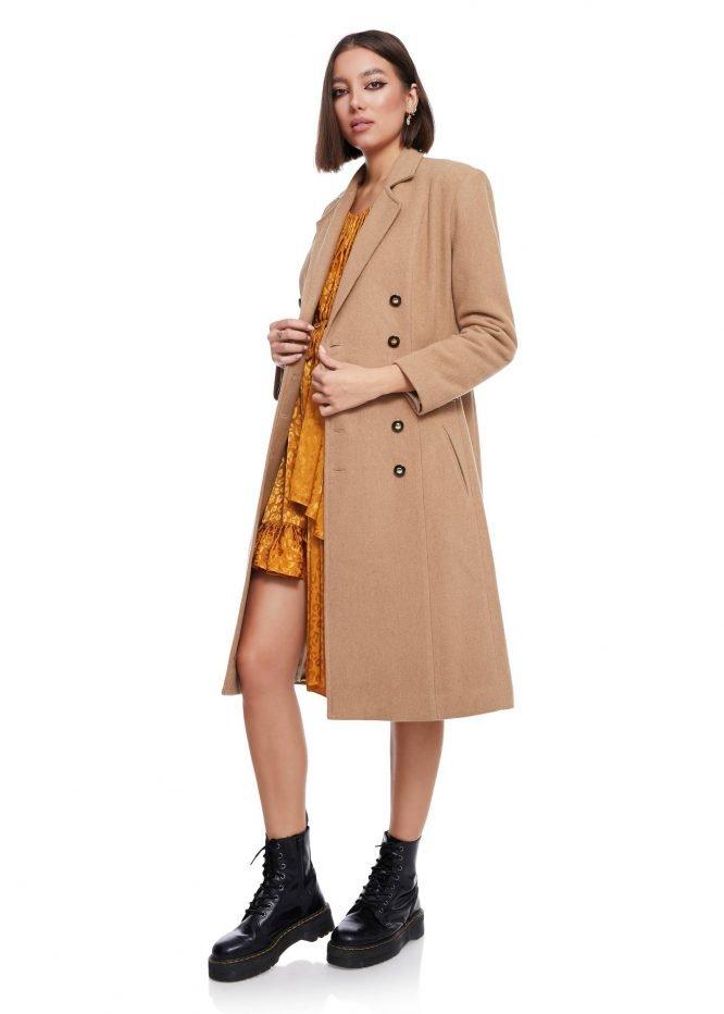 Palton Lung din lana cu dubla inchidere