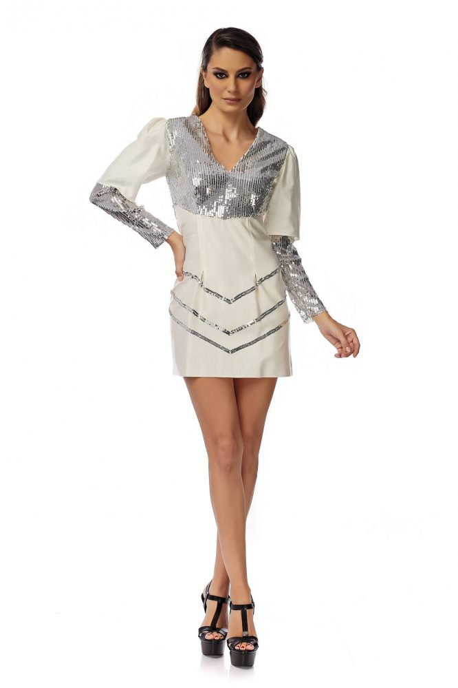 Rochie alba de cocktail cu paiete argintii