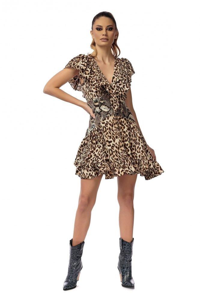 Rochie cu corset talie si volane