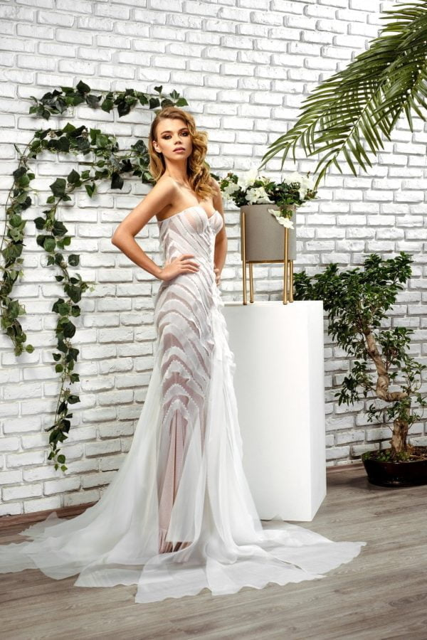 Rochie de mireasa tip sirena cu fasii Passion by D