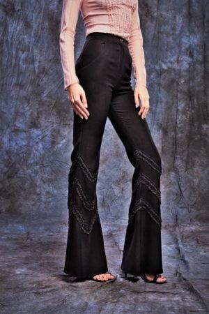 Pantaloni cu talie inalta cu buzunare