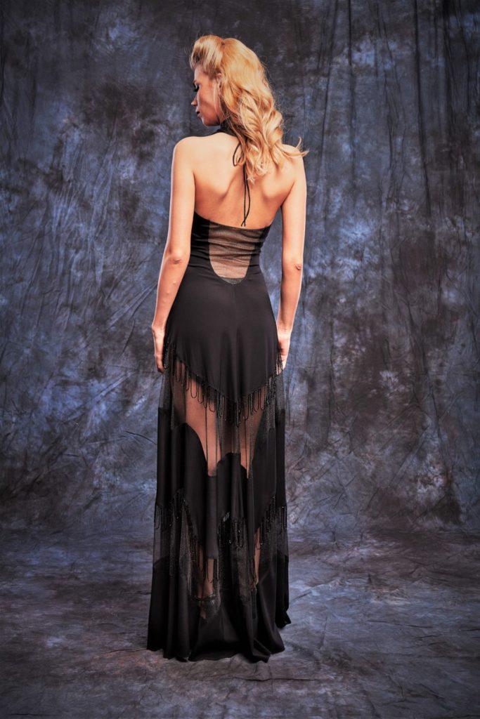 Rochie de seara neagra lunga cu maneci lungi