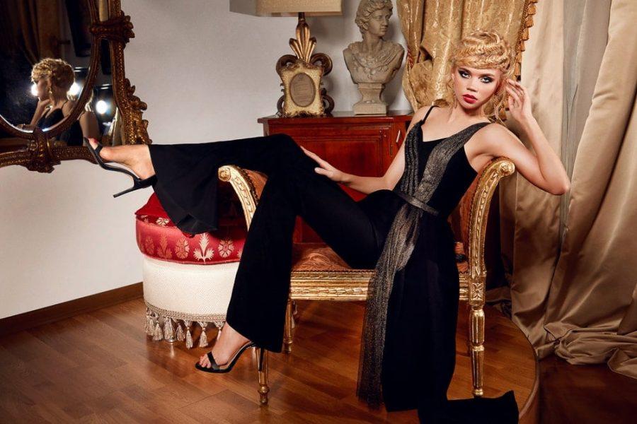 Passion by D Bluza neagra asimetrica cu fasii