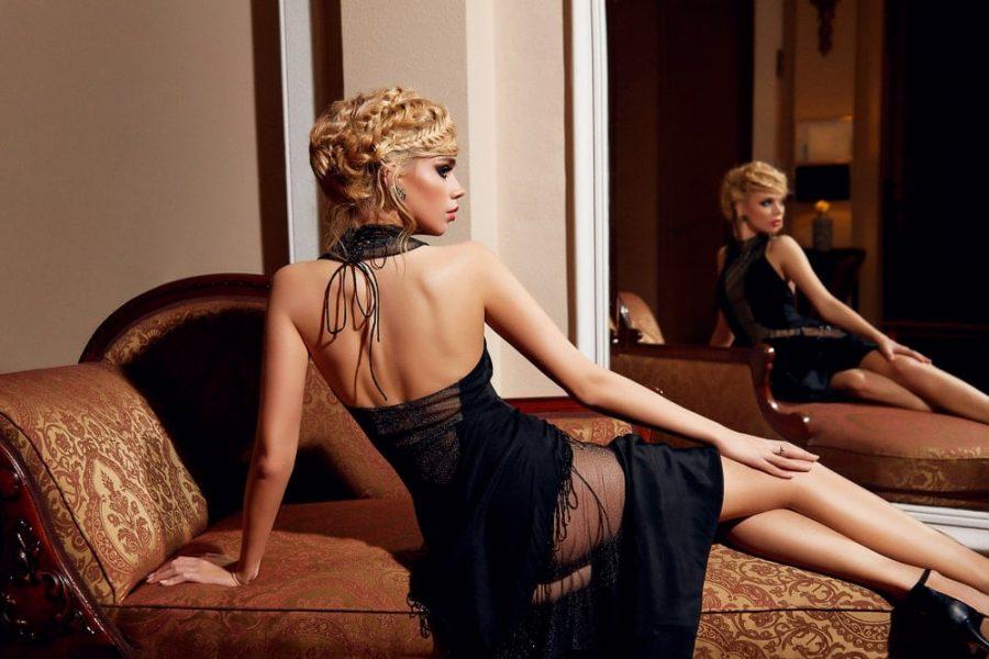 Passion by D Rochie de seara neagra lunga cu maneci lungi