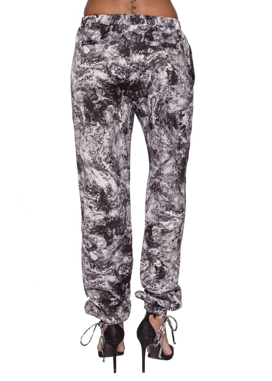 Pantaloni lungi cu siret in talie print alb&negru