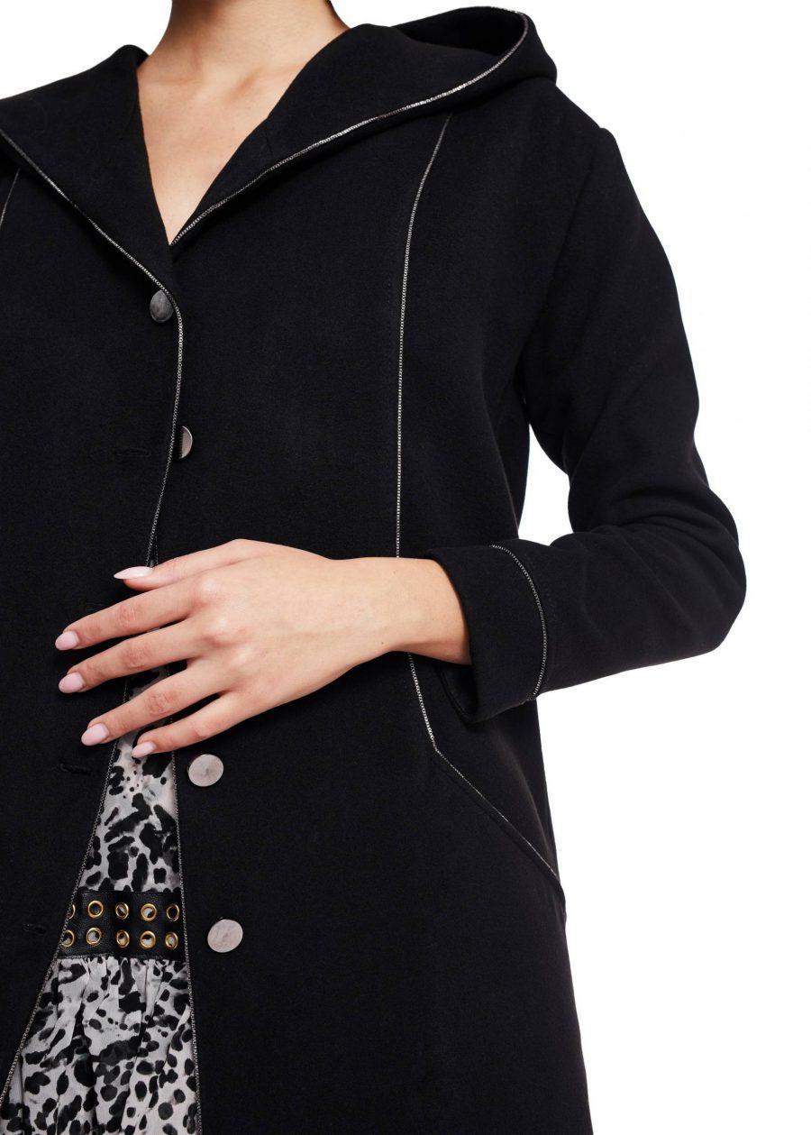 Palton scurt cu gluga din lana