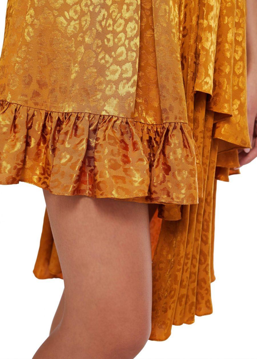Rochie asimetrica din vascoza cu maneci lungi
