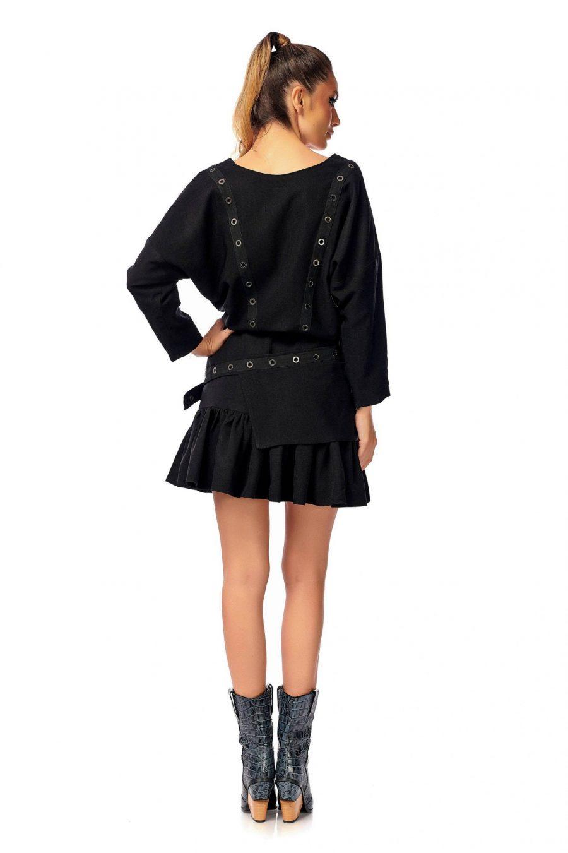 Rochie neagra cu maneci lungi si capse