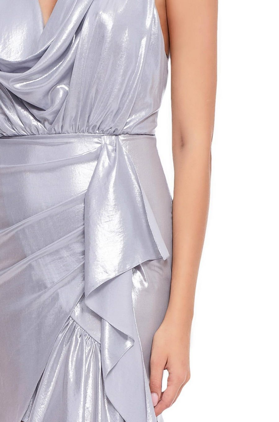 Rochie argintie falduri