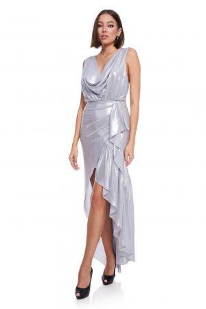 Rochie de seara din matase argintie
