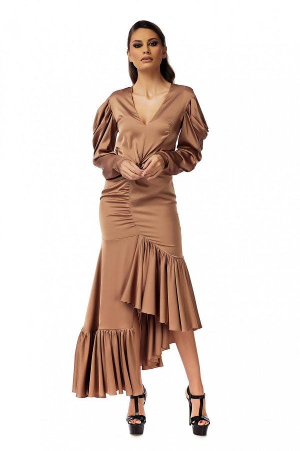 Rochie eleganta Bronze cu maneci lungi