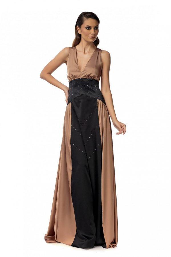 Rochie eleganta bronze cu perle Swarovski