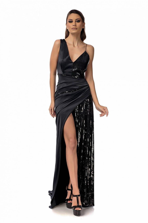 Rochie neagra eleganta cu insertii din paiete