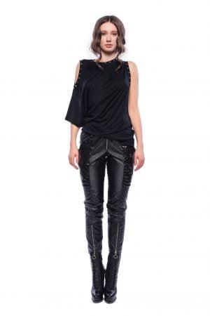 Tricou negru asimetric cu decupaje