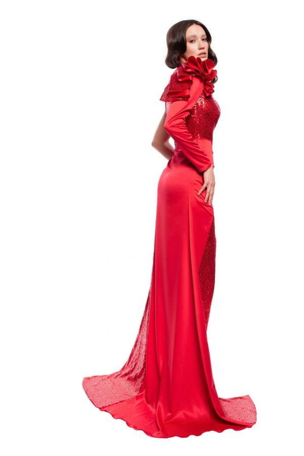 Rochie de seara rosie cu paiete